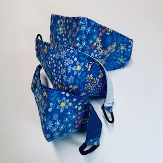 blue flowers face mask